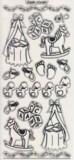 Zier-sticker-Bogen-6401trs-niedliche Baby-Motive-transparent/silber