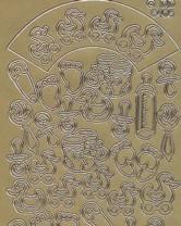 Zier-sticker-Bogen-6405g-niedliche Baby-Motive-gold