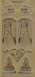 Zier-Sticker-Bogen-Hochzeitstorte-Brautpaar-gold-6424g