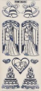 Zier-Sticker-Bogen-Hochzeitstorte-Brautpaar-transparent/silber-6424trs