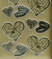 Zier-Sticker-Bogen-Hochzeits-Motive-Tauben,Ringe-6425g