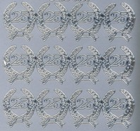 Zier-Sticker-Bogen-Jubiläums-Zahlen 25-silber-6430s
