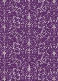 cArt-us Seidenkarton-Folie-silber-filigran Scr.-aubergine-ca.350g/m²-A4-2101