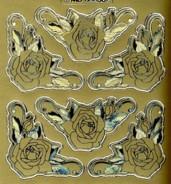 Zier-Sticker-Bogen -Rosen Ecken-gold-matt/glänzend-6532g