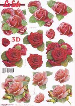 3D Stanzbogen-LeSuh 680004-Rote Rosen