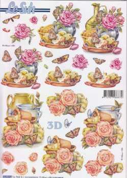 3D Stanzbogen-LeSuh 680009-Rosen-herbstliche Deko