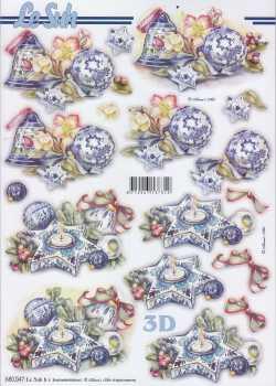 3D Stanzbogen-LeSuh 680047-Weihnachten -Kugeln und Kerze  in blau