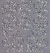 Zier-Sticker-Bogen - große und kleine Ecken-silber-6807s