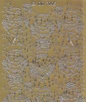 Zier-Sticker-Bogen -niedliche Engel / Amor-gold-7006g