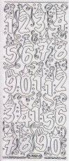 Micro-Glittersticker-7030gtrs-Lustige Geburtstags- Zahlen-transparent/silber