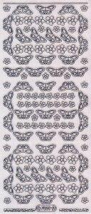 Micro-Glittersticker-kleine Schmetterlinge-transparent/silber-7039gtrs