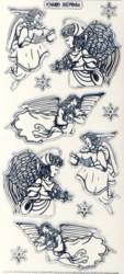 Zier-Sticker-Bogen-Engel-transparent/silber-7046trs