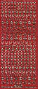 Micro-Glittersticker-Blumen-rot/gold-7048grg