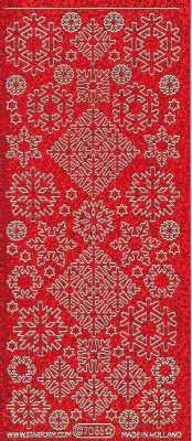 Zier-Sticker-Bogen-Eiskristalle-Eisblumen-holo-rot/gold-7055hor