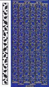 Micro-Glittersticker-Ränder  / Bordüren / Ilex -blau-gold-7082gblg