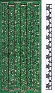 Micro-Glittersticker-Ränder  / Bordüren / Stern -grün-gold-7083ggrg