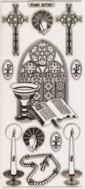 Zier-Sticker-Bogen-Kirchenfenster/Kerze/Kreuz-transparent/gold-7301trg