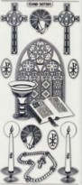 Zier-Sticker-Bogen-Kirchenfenster/Kerze/Kreuz-transparent/silber-7301trs