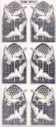 Zier-Sticker-Bogen-Kirchenfenster/Tauben-transparent/silber-7311trs