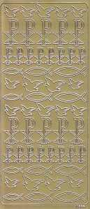 Zier-Sticker-Bogen-Kommunion-Konfirmation-Taufe-kirchliche Motive-gold-7354g
