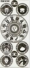 Zier-Sticker-Bogen-Sternzeichen-transparent/gold-7401trg