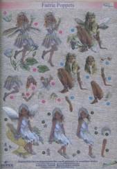 Dufex-3D-Stanzbogen-753410-Faerie Poppets / Elfen-gravierte Motive-Alu-beschichtetes Papier