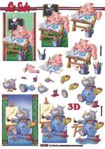 3D Bogen-Einschulung /Erster Tag im Kindergarten mit Schweinchen und Nashorn-777018