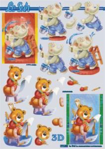 3D Bogen-Einschulung /Erster Tag im Kindergarten-Teddy lernt schreiben-777033