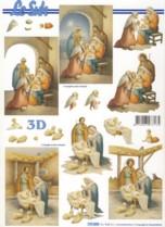 3D Bogen-Etappenbogen-Heilige Familie im Stall -777093