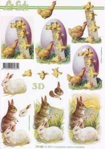 3D Etappen-Bogen-Ostern - Hasen weiß & braun-Huhn und Küken- 777160