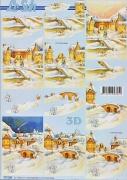 3D Bogen-Etappenbogen-verschneites Dorf-777200