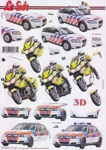 3D Etappen-Bogen-Polizeiwagen/Motorrad-777317