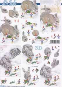 3D Etappen-Bogen-Ostern - Hasen im Schnee- 777491