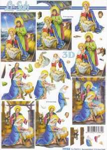 3D-Etappen-Bogen-Heilige Familie im Stall-777514