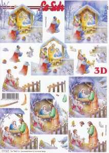 3D-Etappen-Bogen-Heilige Familie / Drei Könige im Stall-777517