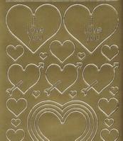 Zier-Sticker-Bogen-0801g-Herzen in verschiedenen Größen