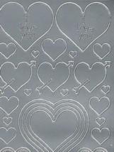 Zier-Sticker-Bogen-0801s-Herzen in verschiedenen Größen