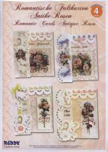 Reddy Cards-Kartenset Romantische Faltkarten 4 -Antike Rosen- 80484