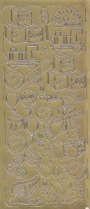 Zier-sticker-Bogen-Baby-Motive-Rassel, Bälle, Würfel-gold-8115g