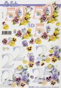 3D Etappen-Bogen-Jahreszahlen-50 und 25-mit Blumen-8215329