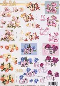 3D Etappen-Bogen-Jahreszahlen-12 1/2, 25,40,50,60,65 -mit Blumen-8215416