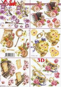 3D Etappen-Bogen / 6 kleine Motive-Blumen /Musikinstrumente-Nouvelle- 8215515