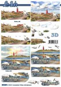 3D Etappen-Bogen-Leuchtturm-Strand Möven-8215607