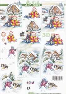 3D Etappen-Bogen-Kinder mit Hunden im Schnee-8215625