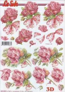 3D Etappen-Bogen-Valentin-Geburtstag- Rosen pink -mit Schleife- 8215694