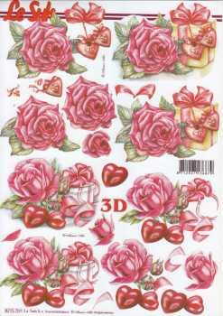 3D Etappen-Bogen-Valentin - Rote Rosen -Geschenk-Herzen- 8215701