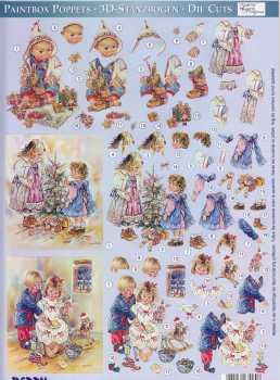 3D Stanzbogen-Paintbox Poppets-83060-Brief an Nikolaus, Am Weihnachtsbaum