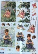 3D Stanzbogen-Junge im Garten-Auf der Schaukel-ST83124