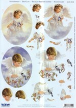 3D Stanzbogen-Engel ,Junge und Mädchen-ST83125