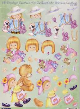 Sweetheads-3D Stanzbogen-Nr.83377-mit Riesen Teddy / Lady